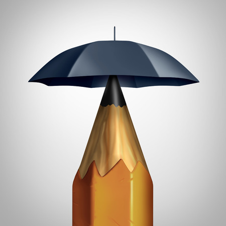 umbrela: Potential security conceprt or education safety symbol or freedom of speech icon as a pencil with an umbrella protecting the writing instrument representing the guarding of ideas and security plan. Stock Photo