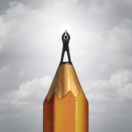 creative planning: Creative leadership control business concept as a businessperson on top of a giant pencil shaped as the lead as a success metaphor for controlling your destiny and planning for achievement.