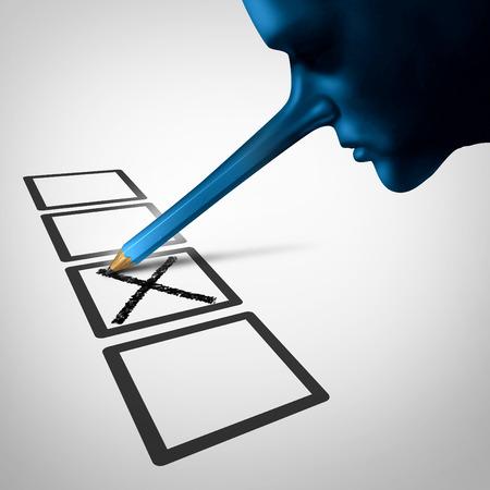 la fraude de vote et urne leis comme une personne lier avec un long nez en crayon tricherie et le gréement des bulletins de vote des électeurs en violation électorale illégale comme un symbole pour les élections irrégularité.