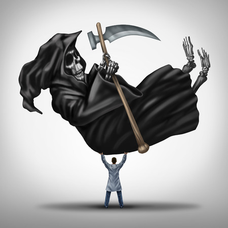 ageing: Controlling death and extending life medical concept as a powerful great doctor lifting up and dominating the grim reaper character as a metaphor for finding a cure to disease and ageing or a symbol for immortality.