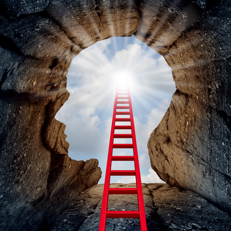 spiritual: Concept of open mind as a a deep mountain cliff shaped as a human head with a ladder leading to the outside towards a glowing sun as a psychology and mental health metaphor for spiritual discovery. Stock Photo