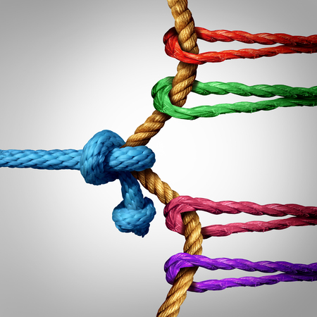 unfair: Struggle to success tug of war against a large group of competitors as a team of ropes working and pulling together to win over a single rival or one winning against many.