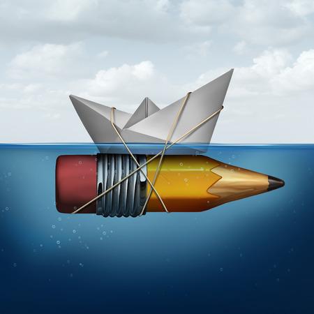 lapices: herramientas del éxito del negocio como un barco de papel en el océano siendo elevados y apoyados por un lápiz que se adjunta como un éxito metáfora planificación de la estrategia para la búsqueda de ideas innovadoras para tener éxito .. Foto de archivo