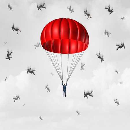 plunging: Parachute business concept as a protected and insured parachutist businessman with a group of free falling and plunging businesspeople as a symbol for being prepared with proper support and benefits. Stock Photo