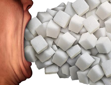 넓은 오픈 입이 건강에 해로운 다이어트 습관이나 식품 성분 중독에 대한 은유로 달콤한 과립 정제 된 흰 설탕 큐브의 큰 그룹을 먹는 사람으로 너무 많은 설탕 의료 개념. 스톡 콘텐츠