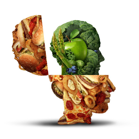 unhealthy thoughts: Nutrition change healthy lifestyle concept changing bad eating habits and from unhealthy junk food to fresh fruits and vegetables shaped as an open human head as an icon for the new healthy you.