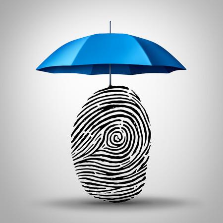 de protección de identificación y seguridad fraude de identidad como un paraguas que protege un icono de impresión de huellas dactilares o el dedo como un símbolo de identidad y seguridad de guardia la información al consumidor. Foto de archivo