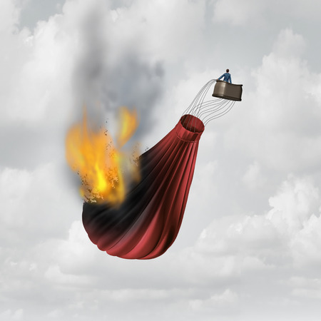 fiasco: Business distress concept and financial problem symbol as a businessman in a burning falling hot air balloon that is in flames as a metaphor for failure.