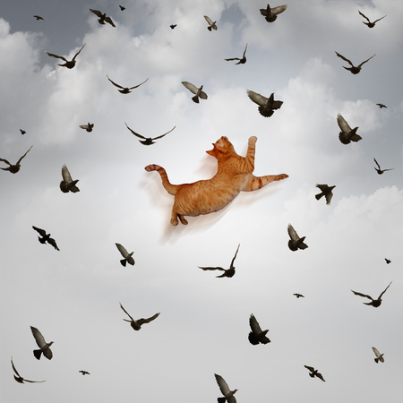 prowess: Seize the opportunity concept as a leaping cat jumping high up in the sky to catch flying birds as a business skill metaphor for being prepared for taking advantage of favorable market conditions.