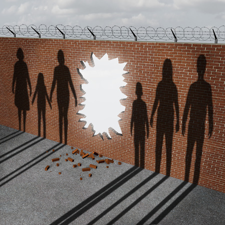 pertaining: Open immigration and migration policy pertaining to a refugee crisis or illegal immigrants issues as a broken border wall with an entrance hole as a metaphor for gouvernment migration. Stock Photo