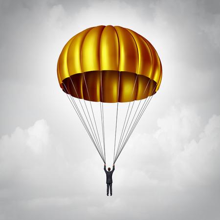 concetto di paracadute d'oro come un uomo d'affari paracadutismo in sicurezza verso il basso con un carrello di atterraggio oro come i benefici di business e simbolo di aggiudicazione di un accordo aziendale con un dipendente esecutivo che sta avanzando verso il basso o dimissioni.
