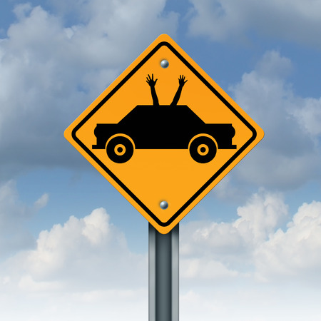 hands free: Autonomous driving concept and driverless car safety system symbol as a road traffic sign as an automobile icon with human hands and arms waving up to the sky as a metaphor for hands free autopilot transportation technology.
