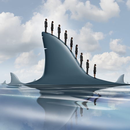 fearless: Concept of risk business metaphor as a group of courageous or unaware businesspeople standing on the dorsal fin of a giant shark as a symbol for overcoming company fear and having guts to be fearless.