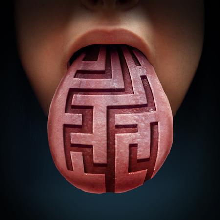 binge: Eating disorder and binge feeding psychiatric health issue as a human tongue with a maze or labyrinth pattern as a medical symbol for anorexia bulimia or purging illness issues and finding solutions.