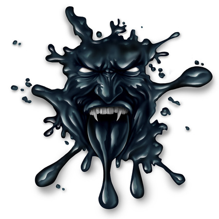 oil spill: Scary oil spill splash as petroleum leaking with a monster face as a symbol for fossil fuel and crude energy fear concept on a white background. Stock Photo