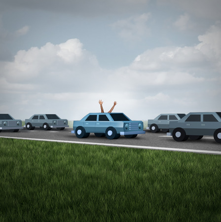 handsfree: Driverless car and autonomous driving concept and safety system symbol as a road with cars and one vehicle with human hands and arms waving up to the sky as a metaphor for hands free autopilot. Stock Photo