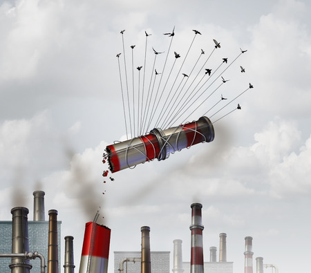 global environment: Clean the environment and emmission control environmental concept as a group of birds lifting up and removing an industrial smoke stack with dirty soot and smoke as a global climate change symbol for cleaning the air. Stock Photo