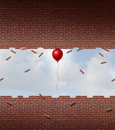 exceptional: Business power concept and exceptional performance symbol as a small red balloon lifting up and breaking apart a brick and mortar wall as a metaphor for amazing outstanding overachievement.