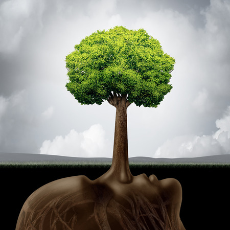 deceive: Liar concept as a corruption symbol for built on lies as a long nose protruding out shaped as a green tree providing false guidance and fraudulent advice in business or the environment..