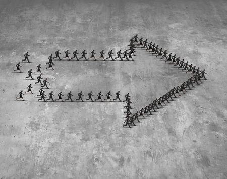 group direction: Business group direction concept as a team of running businessmen and businesswomen shaped as an arrow moving forward towards a common destination goal. Stock Photo