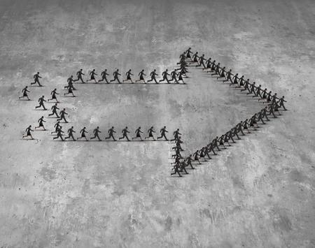 Gruppo di affari direzione concetto di come una squadra di esecuzione di imprenditori e imprenditrici a forma di una freccia che si muove in avanti verso un obiettivo comune destinazione.