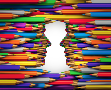 facing each other: Creative exchange concept as a group of colored pencil crayons shaped as two human heads facing each other as a creativity collaboration and art direction and design communication metaphor.