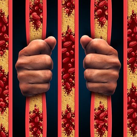Restreint par le cholestérol en tant que personne derrière les barreaux de la prison en artères et les maladies de l'athérosclérose des artères obstrués comme un concept médical avec des cellules de sang qui est bloqué par l'accumulation de plaque comme un symbole de maladies vasculaires.