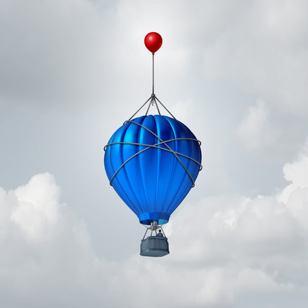 Extend: Extra help business concept or a metaphor for over and above symbol as a hot air balloon being reinforced by an additional small red balloon as an advantage to augment or extend the rise. Stock Photo