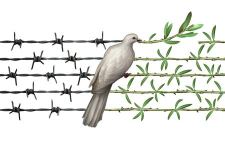 Optimism Konzept und Diplomatie Hoffnung Symbol wie eine Taube auf Stacheldraht Olivenzweige als Symbol für guten Willen des Menschen und der Respekt für die Menschheit und eine globale sicherere Welt oder einen Gruß für Tag der Erde isoliert auf weiß.