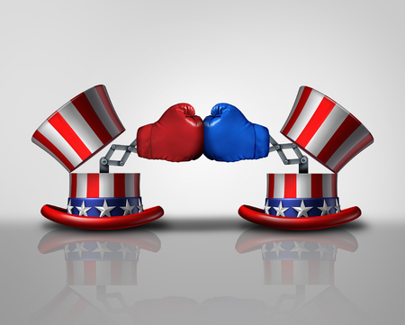 campaigning: American election fight and political violence concept for campaigning for votes as an open uncle Sam top hat decorated with the flag of the United States and a surprise boxing glove fighting an opponent from the left and right.