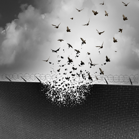 breaking down: Break down walls and remove barriers and tarrifs as a business concept for open free trade with no levy or excise tax as a security wall being destroyed transforming into a group of flying birds.