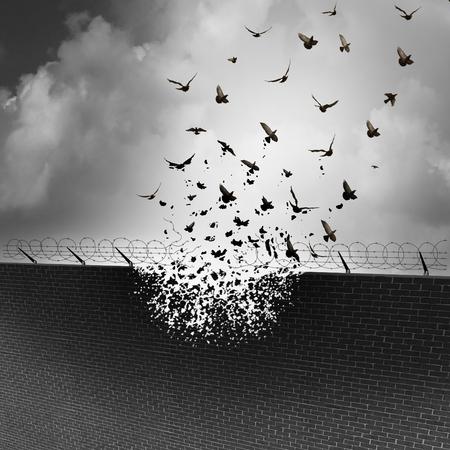 discriminacion: Romper las paredes y eliminar las barreras y tarrifs como un concepto de negocio para el libre comercio abierto, sin gravamen o impuesto al consumo como un muro de seguridad siendo destruido transformando en un grupo de aves que vuelan. Foto de archivo