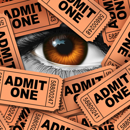 Concept of entertainment and cinema watching symbol as a group of movie admission coupons and theater entrance ticket icon with a human eye looking through as a metaphor for film critic. Stock Photo
