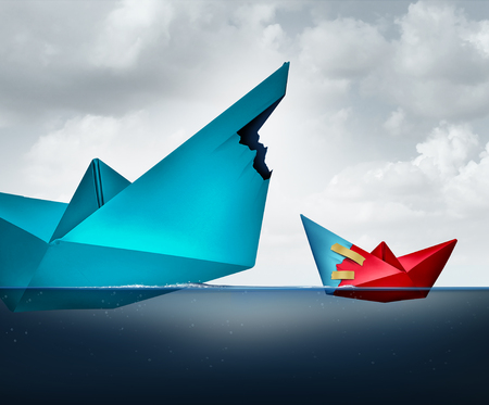 lending: Big business support concept as a giant paper boat sharing a piece of the ship with a smaller vessel as a lending and assistance metaphor for funding and financing.