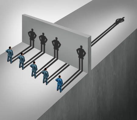 achievable: Leadership skill business concept as a group of people casting shadows stopping at a wall but one individual businessman has a shadow leap forward through the obstacle as an ability to succeed metaphor. Stock Photo
