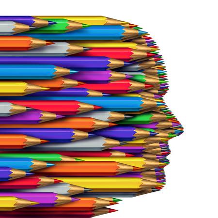 pensamiento creativo: Concepto de las ideas como un símbolo del negocio de pensamiento creativo como un grupo de lápices de colores agrupados juntos para formar una cabeza humana como símbolo creatividad e imaginación aislado en un fondo blanco.