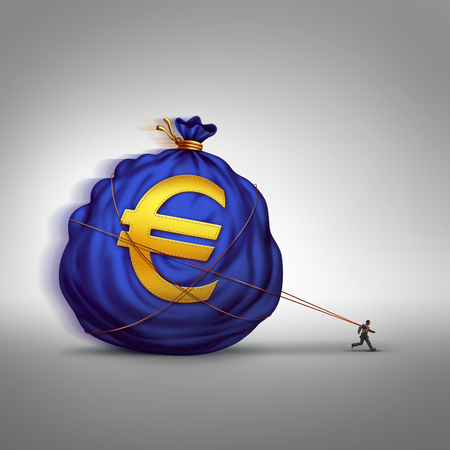 financial burden: European financial stress managing wealth business concept as a businessman dragging a big bag of euro currency as a financial metaphor for finance management or debt burden in the Europe economy.