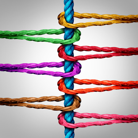 strong partnership: Central connection business concept as a group of diverse ropes connected to a central rope as a network metaphor for connectivity and linking to a centralized support structure.