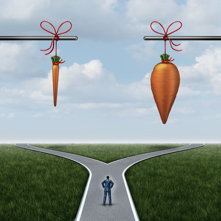 Incentive concept as a carrot and stick metaphor with a businessman at a crossroad with a small reward and the other side representing  huge incentives as a dilemma symbol for decision influence.