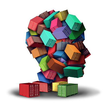 import trade: Cargo freight strategy 3D illustration concept and intelligent shipment symbol as a group of transport shipping containers stacked in the shape of a human head as an icon for planning of export and import distribution.