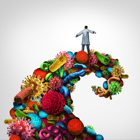 healer: Disease struggle and immunology medical health concept as a doctor riding a dangerouse wave made of bacteria virus and cancer cells as a healthcare symbol for pathology and research into finding a cure.