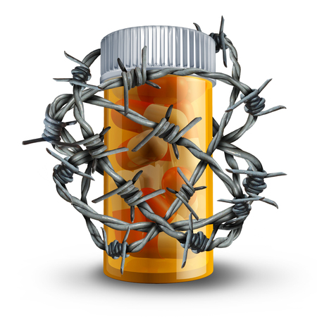 Prescription drug security and medication safety concept as a 3D bottle of pills wrapped with barbed or barb wire as a medical metaphor for pharmacy drugs risk and dosage danger.