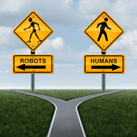 high society: Robots and society concept or dilemma with robotic technology effects on social lifestyle as a 3D traffic sign with a futuristic humanoid cyborg icon as a symbol of artificial intelligence or self driving car engineering.
