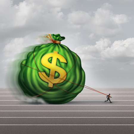 money management: Managing wealth business concept as a businessman dragging a big bag of money as a financial metaphor for finance management or debt burden as a lender shackled to a huge debt.