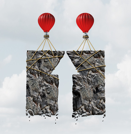 combined effort: Team work success business concept and combined effort symbol as a group of air ballons tied to heavy rocks shaped as an upward arrow as a financial cooperation icon as a 3D illustration.