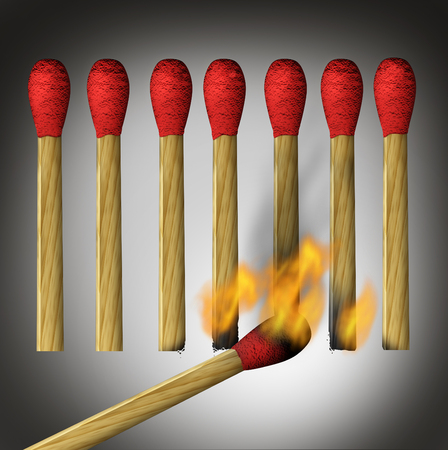 indirect: Different business way as a concept for indirect access to achieving a goal or outside the box thinking as a match lighting up the bottom of the flamable object.