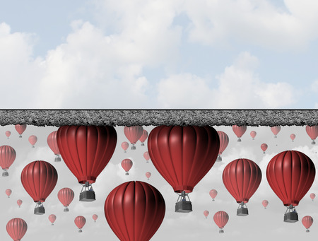 Hitting a wall and reach the limit or ceiling as a business concept for restricted opportunity and closed economic barrier to succeed as a group of air balloons trapped by a thick roof.