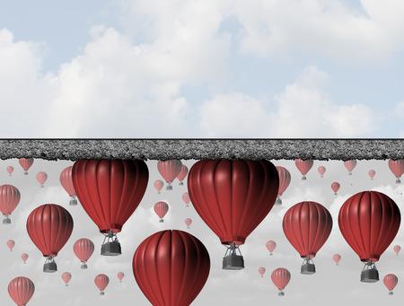 Golpear un muro y llegar al límite o techo como un concepto de negocio para la oportunidad económica restringida y la barrera cerrada para tener éxito como un grupo de globos de aire atrapadas por un techo de espesor.