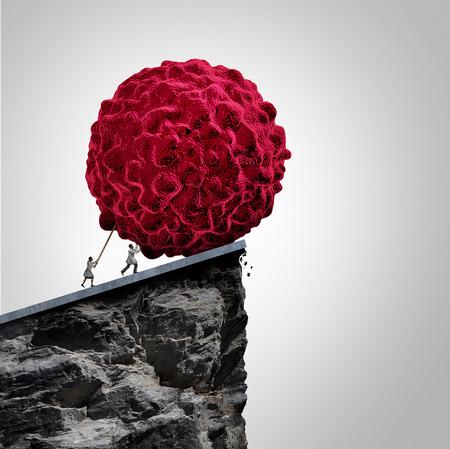 recherche sur le cancer et le concept médical d'oncologie comme un groupe de médecins oncologues poussant une illustration 3D d'une cellule cancéreuse maligne sur une falaise pour détruire la maladie comme une métaphore pour la prévention et le traitement de la maladie. Banque d'images