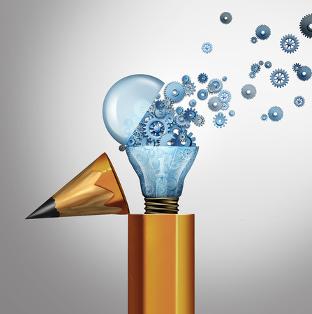 invent clever: Planning and imagination success business concept as an open pencil with an open light bulb spreading gears and cog wheels as an innovation and bright leadership idea as a 3D illustration icon.